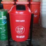 Tong sampah fiber single bulat 60 liter