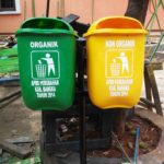 Tong sampah fiber single 2 in 1 40 liter