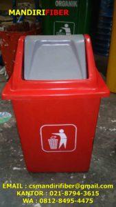 Tong sampah fiber kotak swing