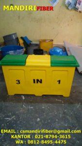 tempat sampah fiber kotak gandeng, tempat sampah fiber warna