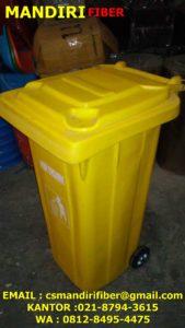 tong sampah fiber roda 120 liter, harga tempat sampah fiber,