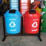 Tong sampah fiber 2 in 1 bulat 50 liter