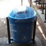 Tong sampah fiber single bulat 40 liter