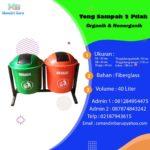 Tong sampah fiber 2 in 1 bulat 40 liter