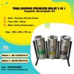 Tong sampah stainless 3 in 1 Bulat