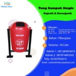 Tong sampah fiber single bulat 50 Liter