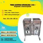Tong sampah stainless steel kotak 2 in 1