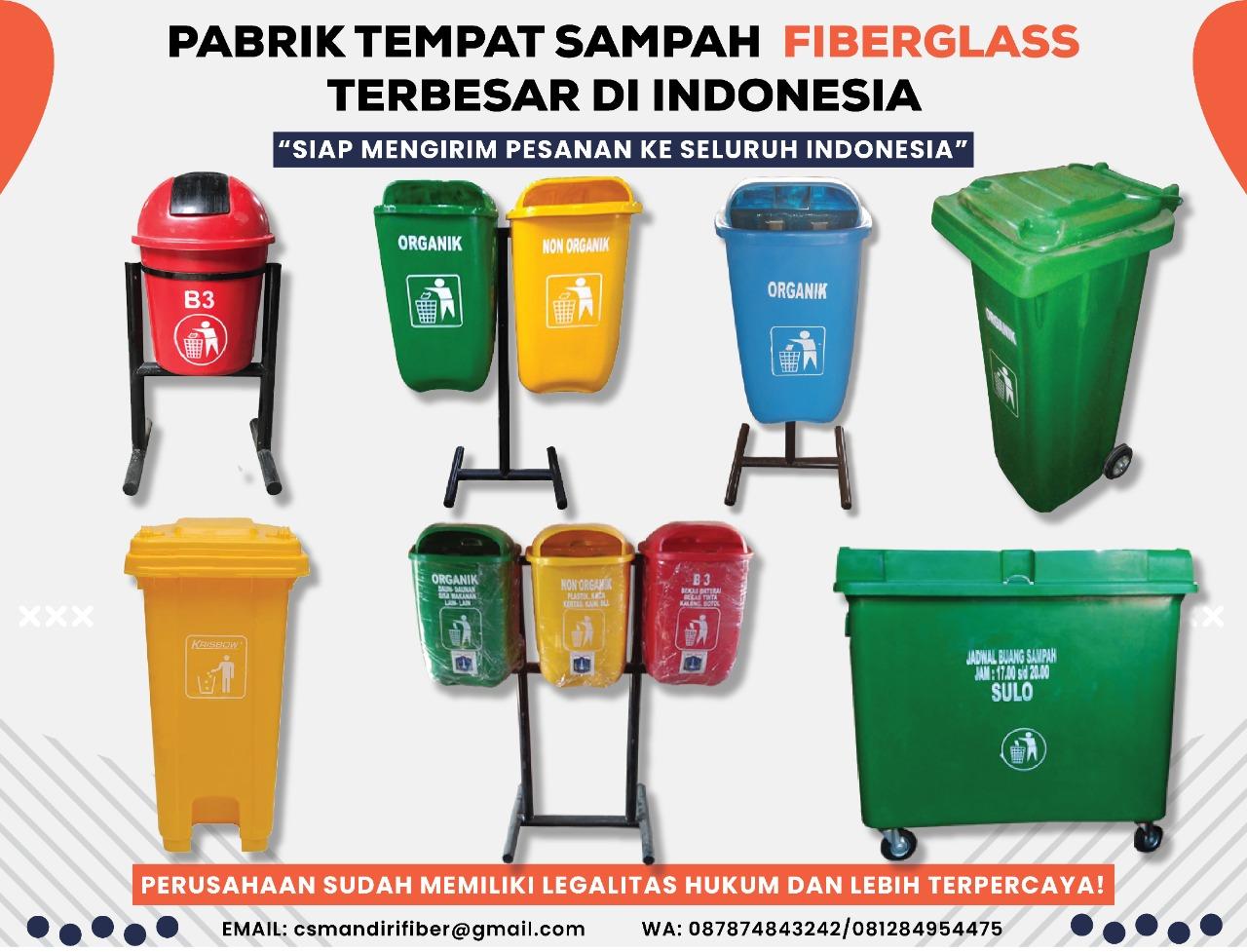 jual tong sampah fiber pilah 2 dan 3 warna jenis pembuangan, kotak sampah fiber, harga bak sampah fiberglass