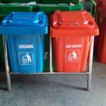 Tong sampah fiber 2 in 1 kotak 60 liter