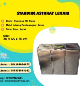tong sampah strainless lemari, tempat sampah stainless 3 in 1