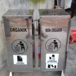 Tong sampah stainless kotak 2 in 1