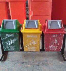 tempat sampah fiber kotak gandeng 3, jual tong sampah fiber
