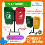 Tong sampah fiber 2 in 1 oval 50 liter