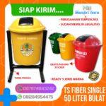 Tong sampah fiber single bulat 50 Liter