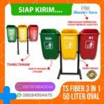 Tong sampah fiber 3 in 1 oval 40 liter