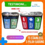 Tempat Sampah Stainless pilah 3 in 1, 3 warna, 3 jenis