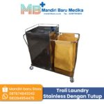 Troli Linen Stainless – Laundry dengan Tutup Pintu